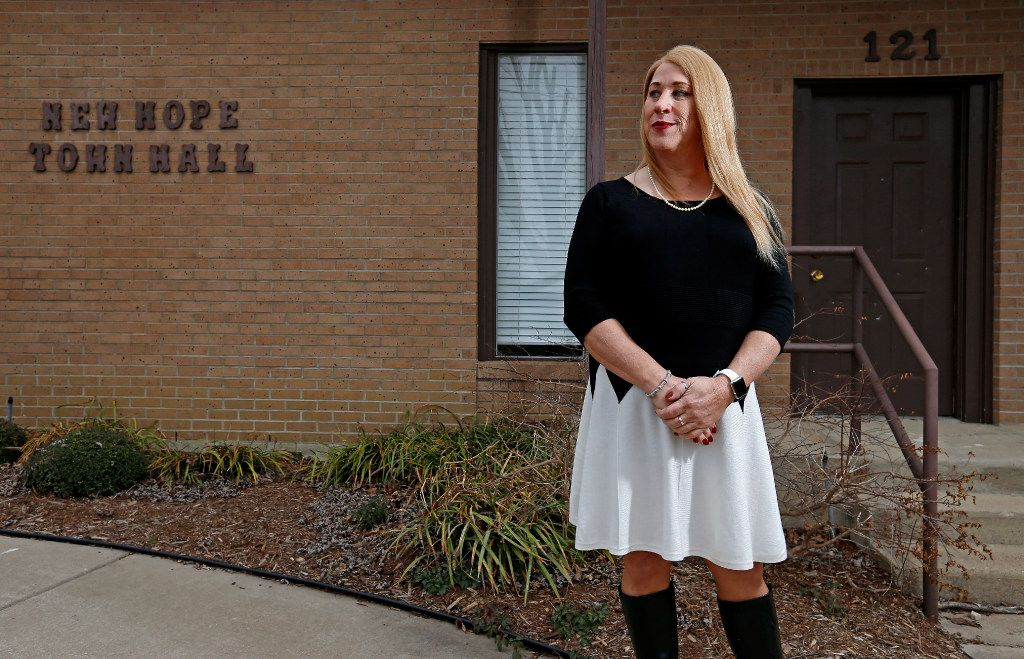 Mayor Jess Herbst poses for a photograph at the New Hope Town Hall in New Hope, Texas, Thursday, Feb. 2, 2017. Jess Herbst is the first transgender mayor in Texas. (Jae S. Lee/The Dallas Morning News)