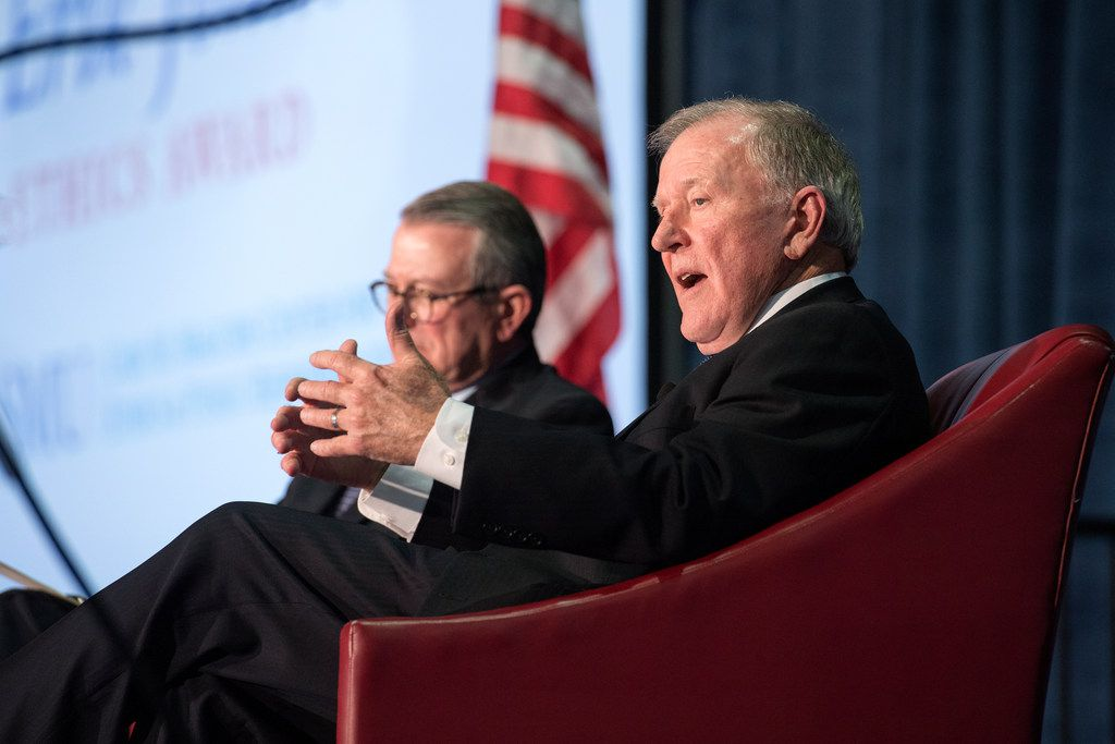 Bobby Lyle, recipient of  the J. Erik Jonsson Ethics Award, talks about ethics at a luncheon at Moody Coliseum on March 29, 2018 as Tony Pederson,  chairman of SMU's journalism division, looks on.