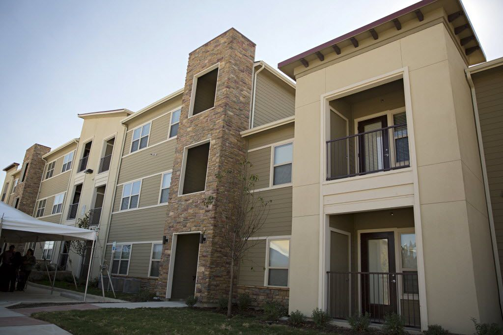 An exterior shot of Serenity Place, a 45-unit apartment complex that will provide housing for homeless women and children in the Dallas area.  (2015 File Photo/Staff)