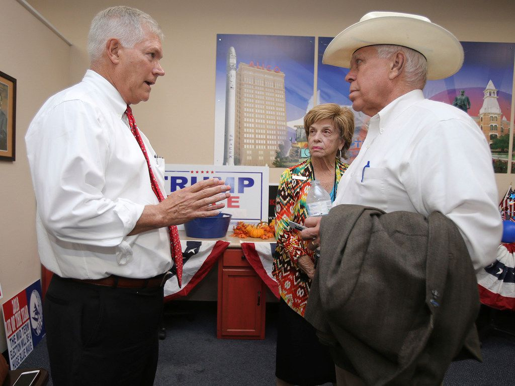 Former U.S. Rep. Pete Sessions (left) speaks to Jon R. Ker, chairman of the McLennan County Republican Party, and supporter Barbara Kent on Thursday, Oct. 3, 2019, in Waco. Sessions is running to fill the Central Texas District 17 seat of Republican Bill Flores, who is stepping down.