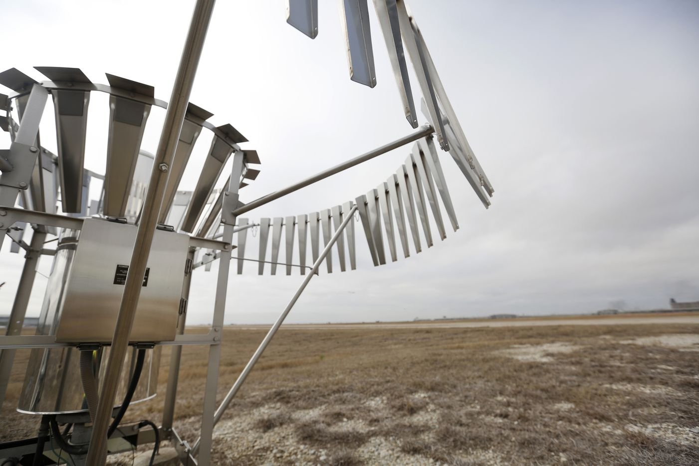 The National Weather Service's rain gauge at the climate site at Dallas/Fort Worth International Airport in Irving, Texas on Tuesday, Feb. 26, 2019. (Rose Baca/Staff Photographer)