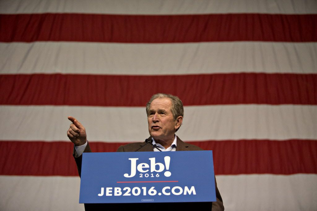 George W. Bush, former U.S. president, speaks during a campaign event for his brother Jeb Bush, former Governor of Florida and 2016 Republican presidential candidate, not pictured, in North Charleston, South Carolina, U.S., on Monday, Feb. 15, 2016. (Daniel Acker/Bloomberg)