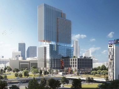 The proposed Newpark tower would be on Canton Street near Dallas City Hall.