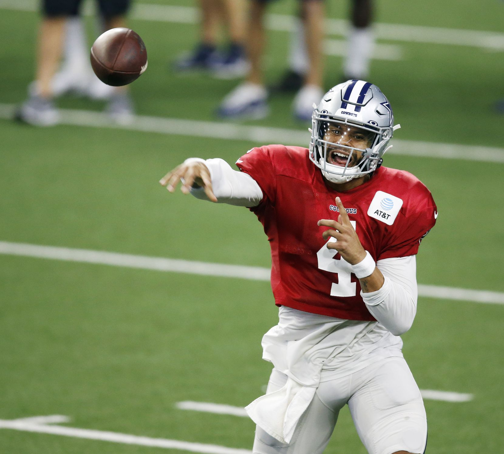 Dallas Cowboys quarterback Dak Prescott (4) attempts a pass in practice during training camp at the Dallas Cowboys headquarters at The Star in Frisco, Texas on Thursday, August 27, 2020. (Vernon Bryant/The Dallas Morning News)
