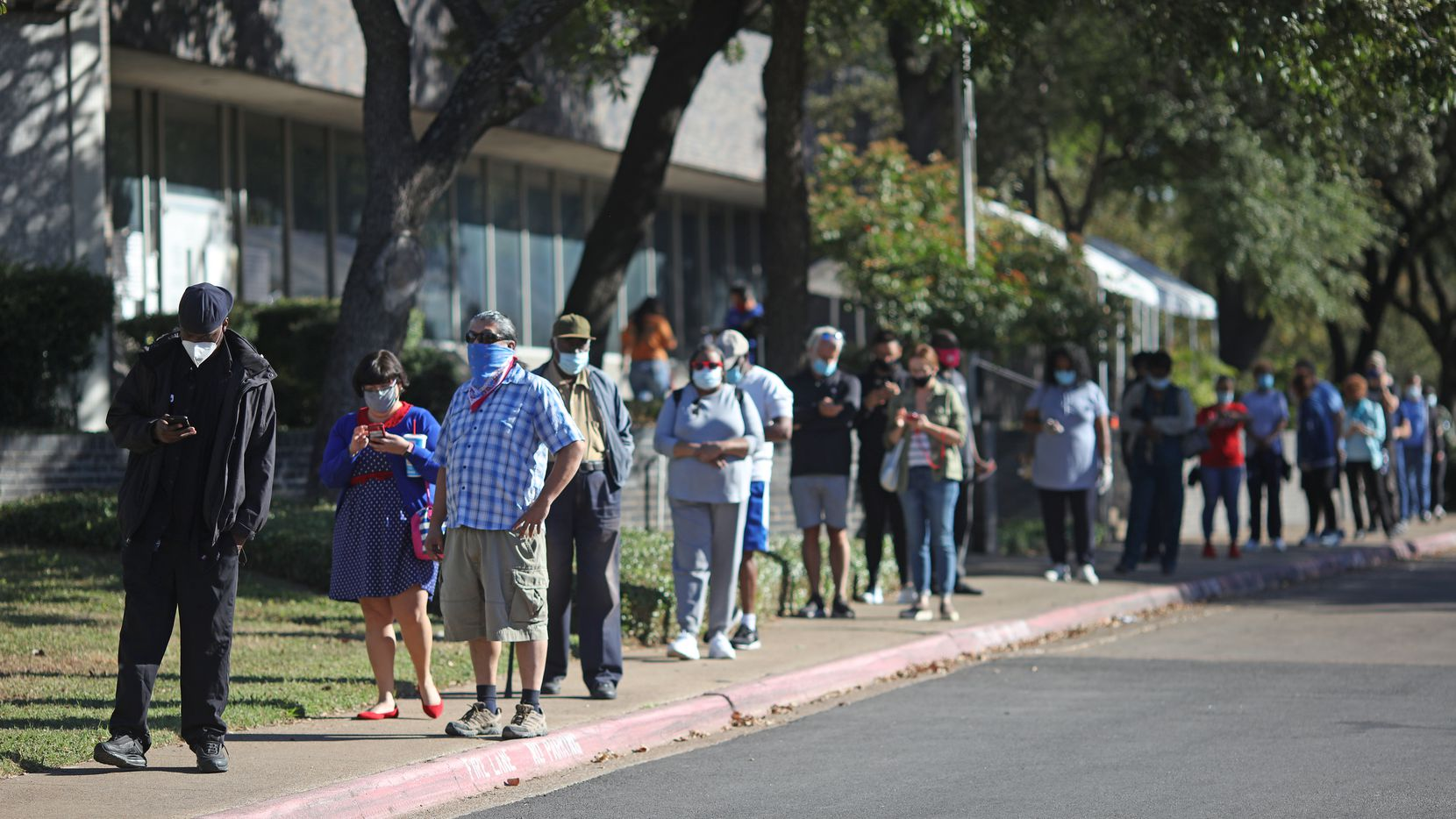 Voters wait in line to cast ballots during early voting in Dallas County