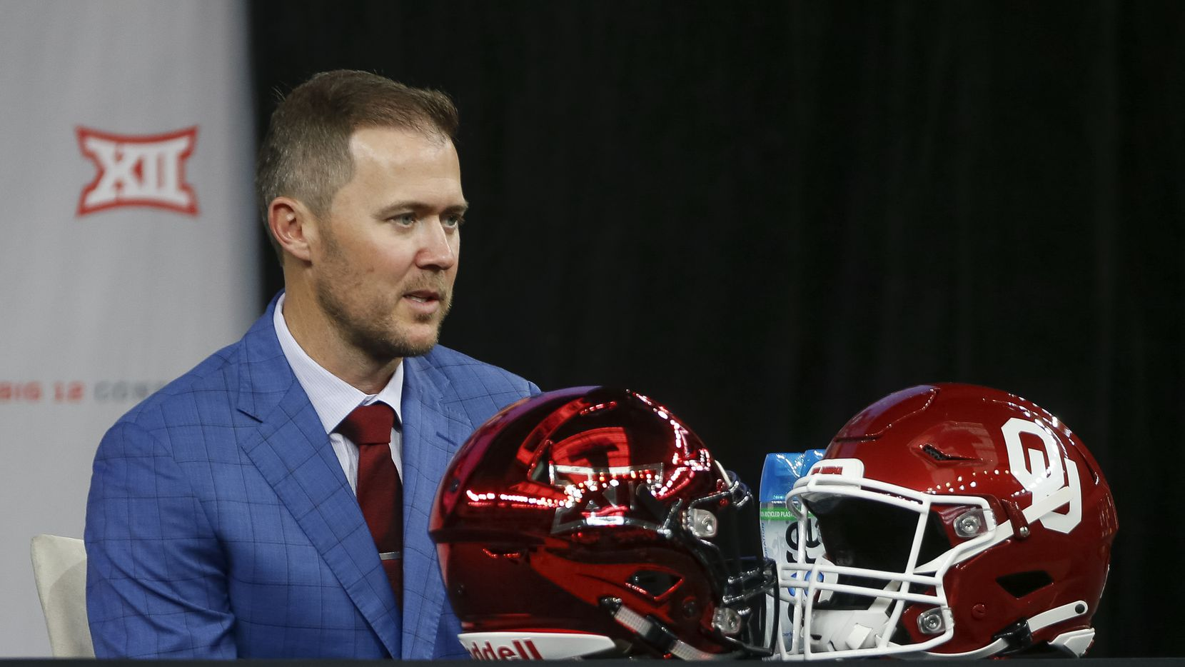 Oklahoma head football coach Lincoln Riley speaks during the Big 12 Conference Media Days at AT&T Stadium on Wednesday, July 14, 2021, in Arlington.