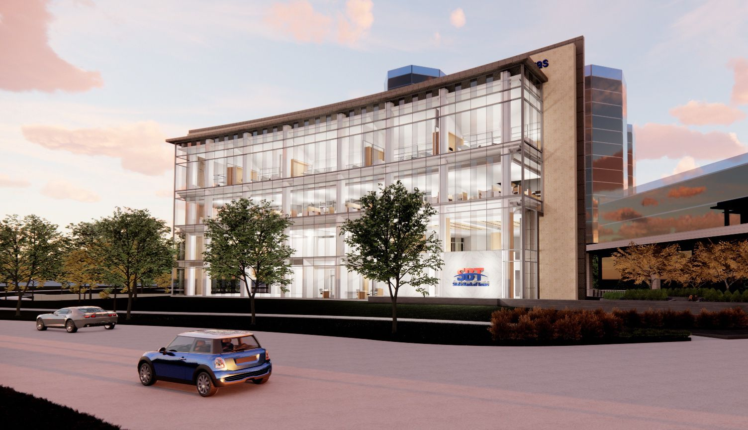 The new State Bank of Texas building will be near O'Connor Boulevard and State Highway 114.