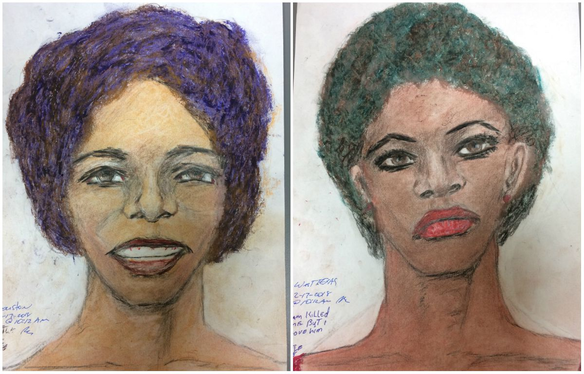 The FBI released 16 sketches made by convicted serial killer Samuel Little, including those of two women he says he killed in Texas. On the left is a woman Little said he killed in Houston between 1976 and 1979 or possibly in 1993. On the right is a woman whose body Little said he dumped outside Wichita Falls in 1976 or 1977.