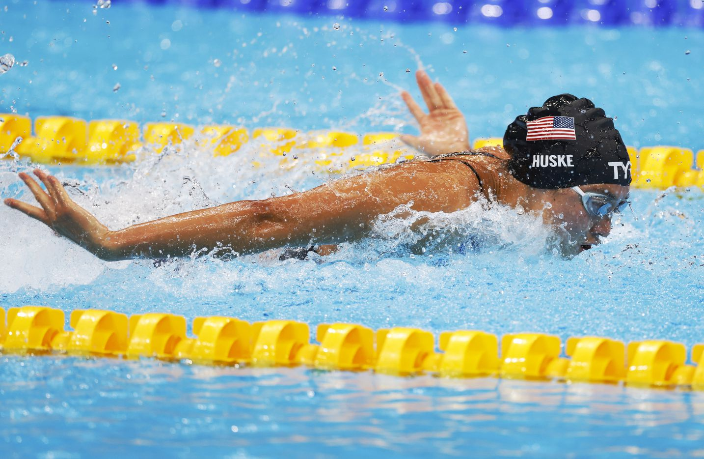 USA's Torri Huske competes in the women's 4x100 medley relay during the postponed 2020 Tokyo Olympics at Tokyo Aquatics Centre, on Sunday, August 1, 2021, in Tokyo, Japan. USA finished in second with a time of 3:51.60 to earn a silver medal. (Vernon Bryant/The Dallas Morning News)