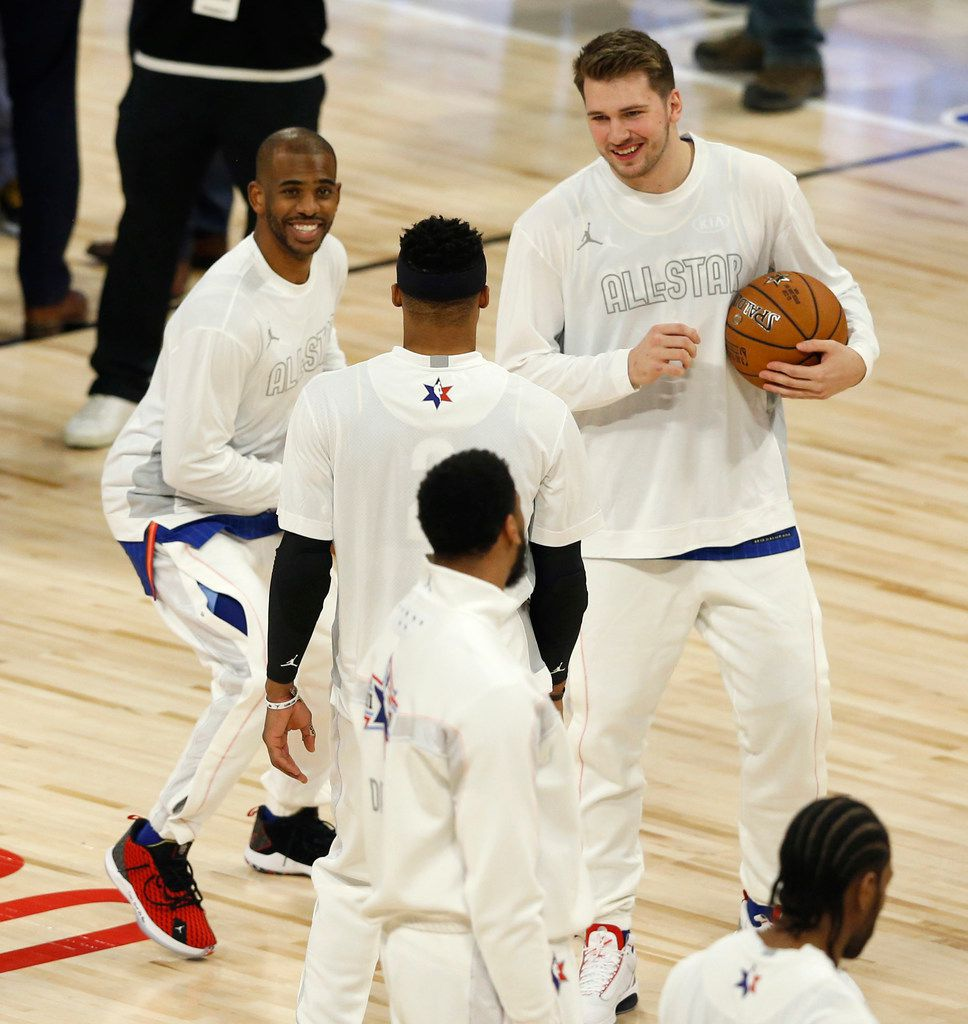 Team LeBron's Chris Paul (2) imitates Luka Doncic's step back technique in front of Doncic andRussell Westbrook during the first half of play in the NBA All-Star 2020 game at United Center in Chicago on Sunday, February 16, 2020. (Vernon Bryant/The Dallas Morning News)