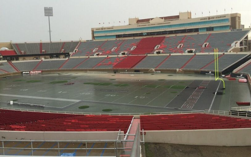 A flooding Jones AT&T Stadium on Wednesday afternoon. Photo from The Daily Toreador
