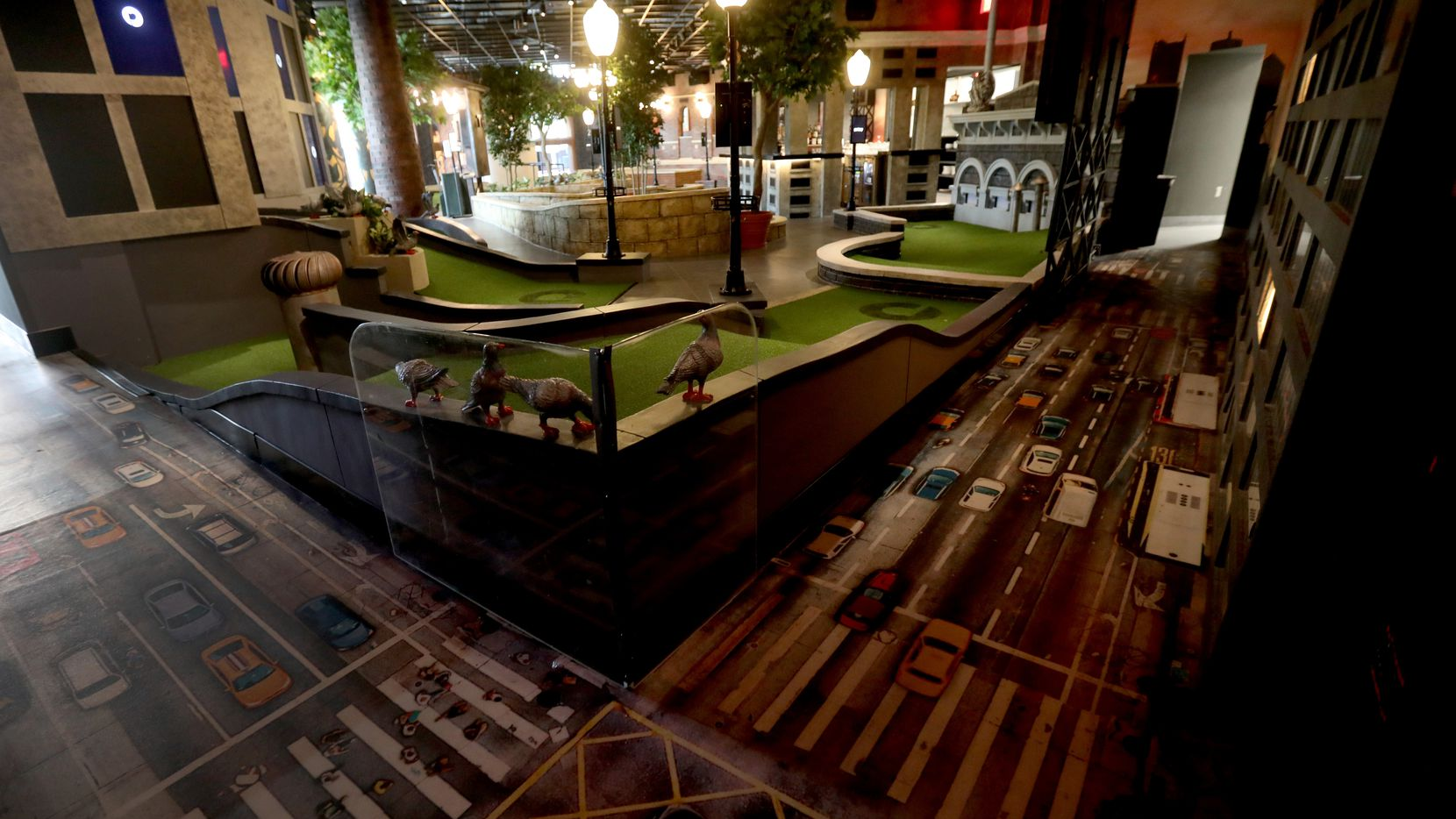 A hole in the Rooftop room at Puttery, a new indoor mini golf and entertainment concept in The Colony, on Aug. 30, 2021. (Anja Schlein/Special Contributor)
