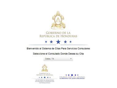Esta es la página web para hacer una cita en línea con el consulado de Honduras en el área de Dallas. (Consulado de Honduras/CORTESÍA)