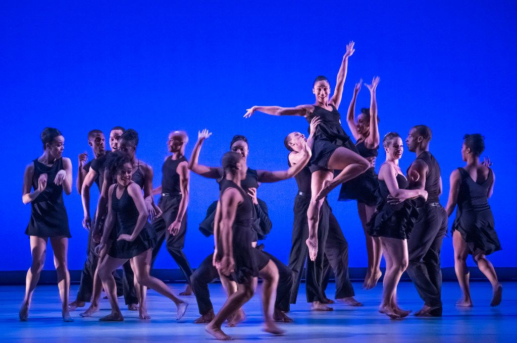 "Dallas Black Dance Theatre dancers perform one of the dances from ""Smoke"" during a dress rehearsal at the Dee and Charles Wyly Theatre on Thursday, Feb. 16, 2017   (Rex C. Curry/Special Contributor)"