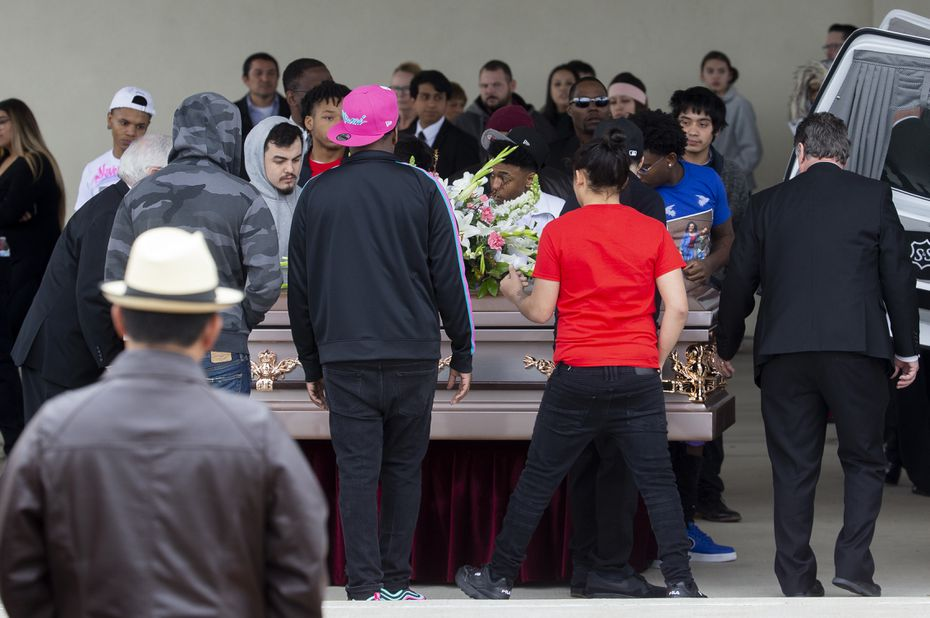 Pallbearers carried Deja and Abbaney Matts, the sisters who were found dead in a dorm at Texas A&M-Commerce, during Tuesday's funeral in Garland.