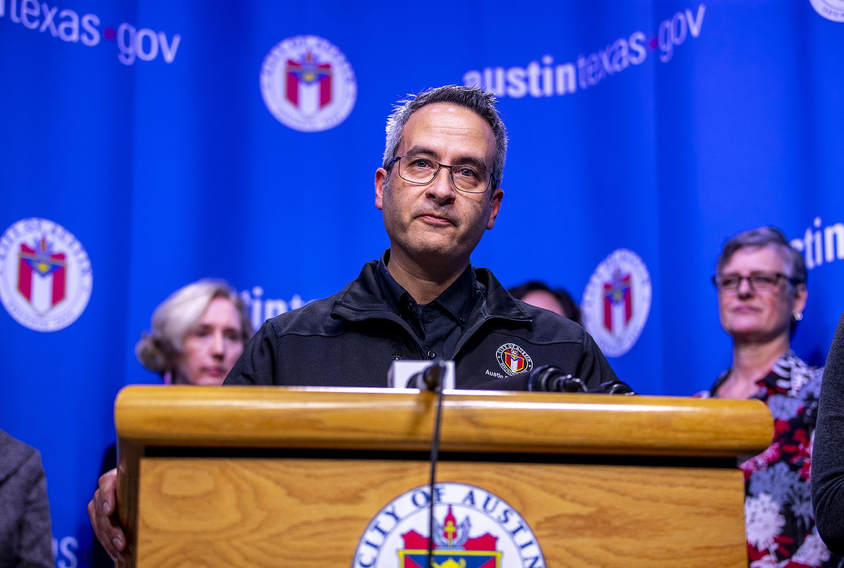 Dr. Mark Escott, Austin Public Health Interim Health Authority, provided an update to the community about COVID-19 during a press conference in Austin, Texas on Friday, March 6, 2020.