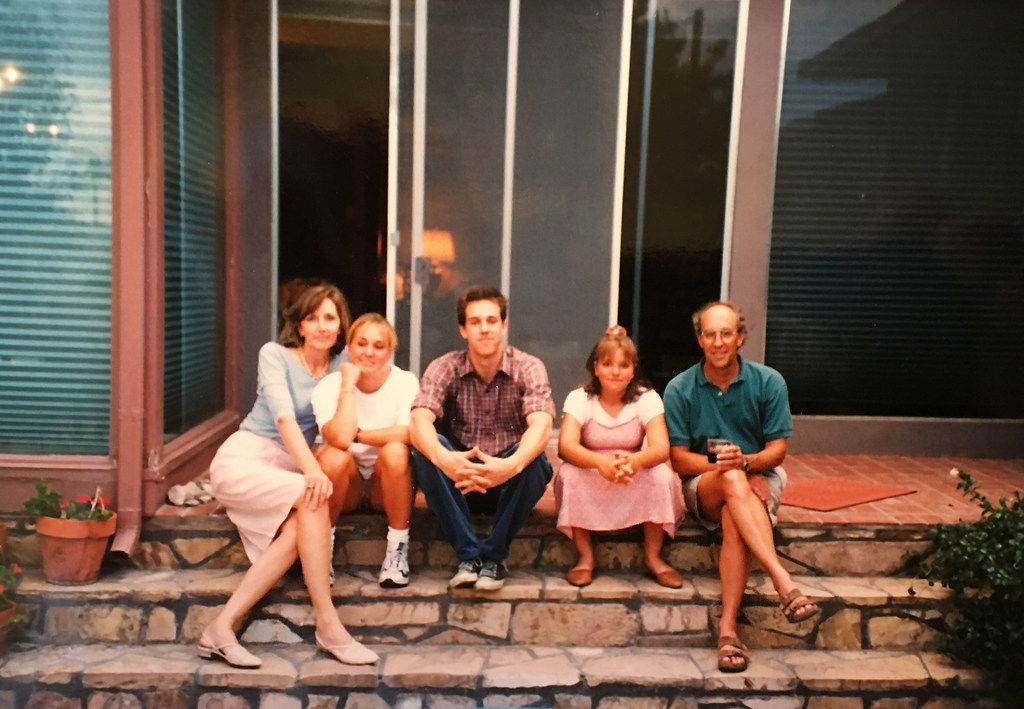 Beto O'Rourke, center, with his family at his boyhood home in central El Paso in undated photo. It was taken before his father, Pat, on right, died in 2001. From left: His mother, Melissa; sister, Charlotte; Beto; sister, Erin; and Pat. (Courtesy of Melissa O'Rourke)