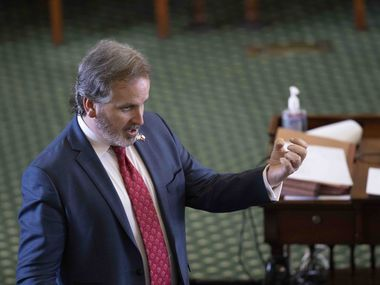 Sen. Bryan Hughes, R-Mineola, speaks during the Texas Senate's nocturnal debate of a sweeping elections bill early Sunday, May 30, 2021, at the Texas Capitol in Austin, Texas. Hughes is author of Senate Bill 7. State Sen. Bryan Hughes, R-Tyler, to Senate Democrats on SB 7 the voting rights bill working its way through the Teas Capitol  the evening of May 29, 2021 before Sunday's midnight deadline. Hughes, is chair of the House-Senate conference committee on the bill that would restrict absentee voting, poll hours and other measures that tend to affect minority populations.