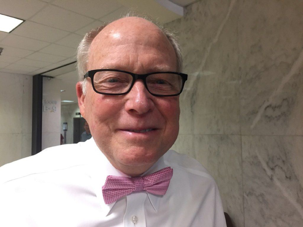 Dallas lawyer Bill Knox sports a pink bow tie at the Earle Cabell Federal Building on Friday, April 28, 2017. His son, Chris Knox, was one of the attorneys representing Dallas County Commissioner John Wiley Price, who taught Bill Knox how to tie a bow while preparing for trial with Chris Knox. (Photo by Jennifer Emily, Dallas Morning News)