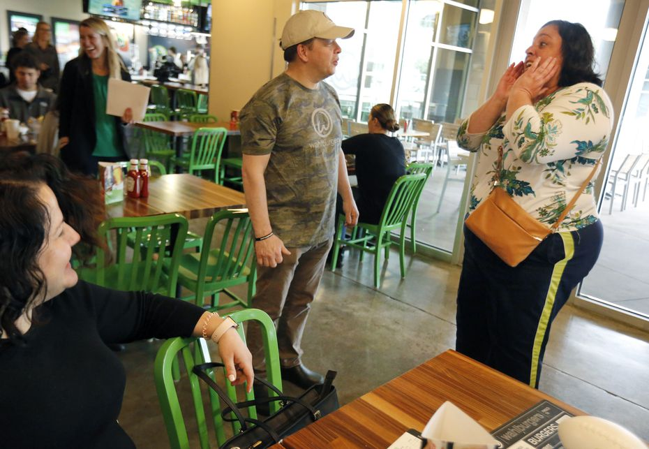 Lisa Pitone is surprised to meet her favorite Wahlberg brother, Paul Wahlberg, as she dined at Wahlburgers in Frisco on Jan. 28, 2020.