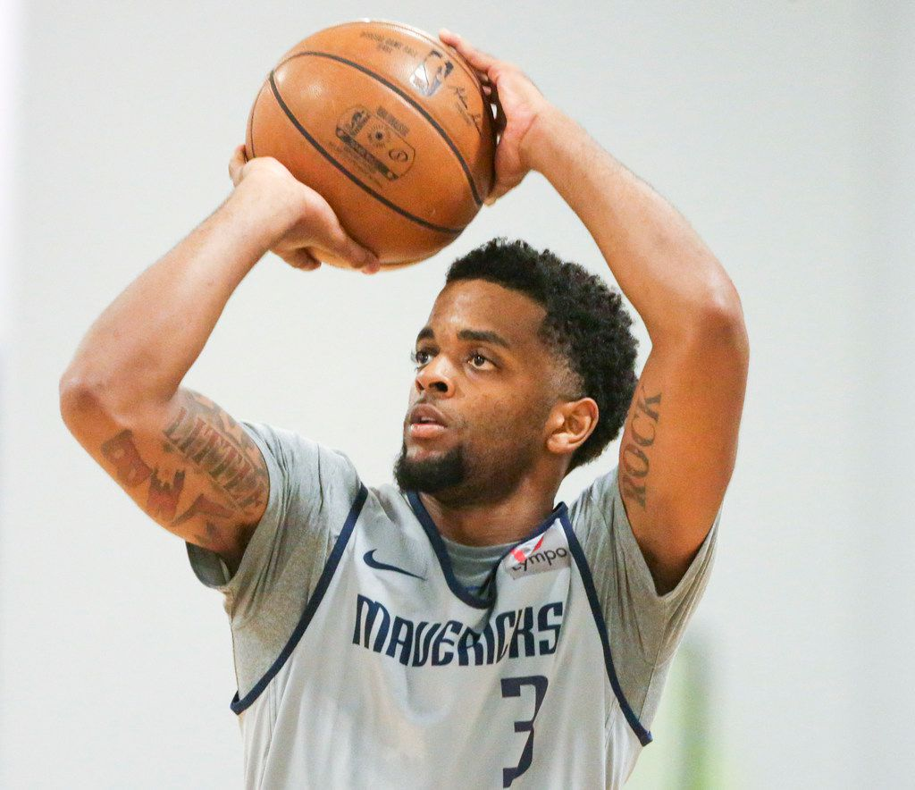 Daryl Macon G (3)shoots the ball during the Dallas Mavericks Summer League practice at the Mavs practice facility in Dallas on Wednesday, July 3, 2019. (Shaban Athuman/Staff Photographer)