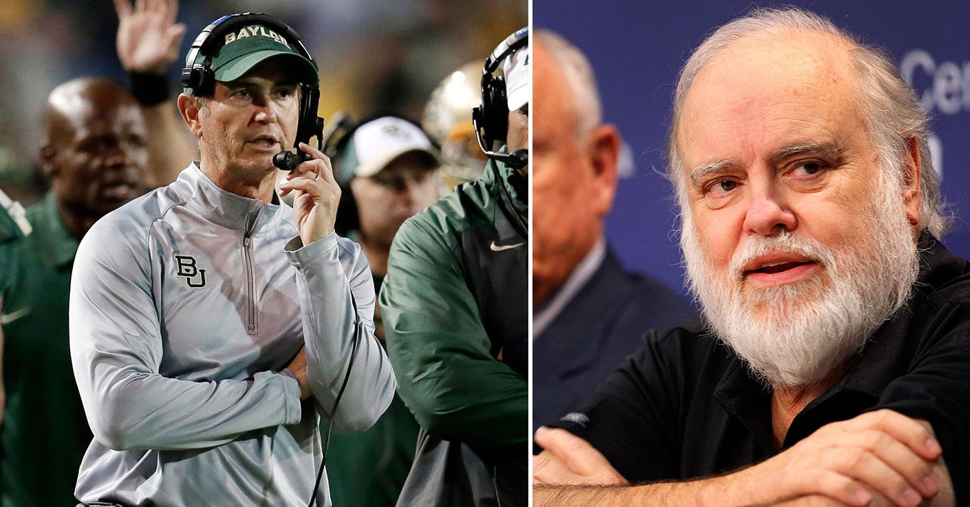 Former Baylor coach Art Briles (left) and Baylor donor and Rangers part-owner Bob Simpson.