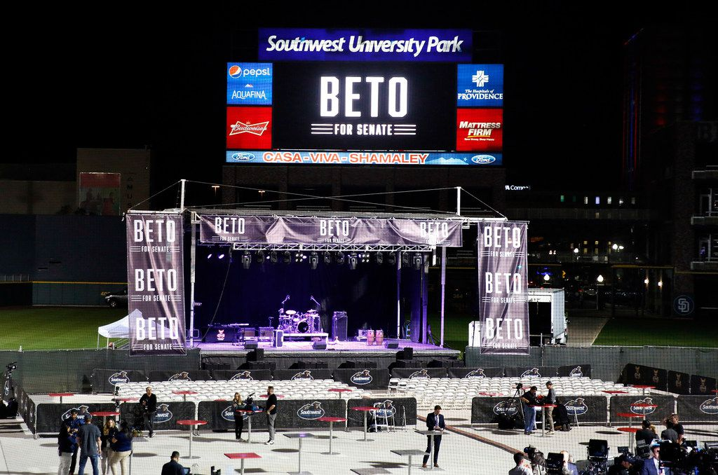 The stage is set for U.S. Senate candidate Rep. Beto O'Rourke's (D-TX) election party at the Southwest University Park baseball stadium in El Paso, Texas, Tuesday, November 6, 2018. O'Rourke is facing incumbent Sen. Ted Cruz (R-TX) in a close race for the U.S. Senate seat. (Tom Fox/The Dallas Morning News)