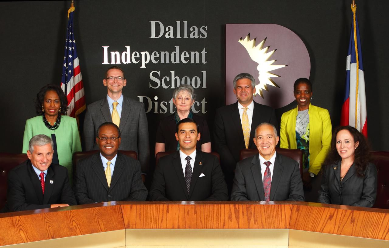The Dallas school board, shown with Superintendent Mike Miles (front, second from right), consists of (front, from left): Dan Micciche, Lew Blackburn, board President Miguel Solis and Elizabeth Jones, and (back, from left) Joyce Foreman, Mike Morath, Nancy Bingham, Eric Cowan and Bernadette Nutall.