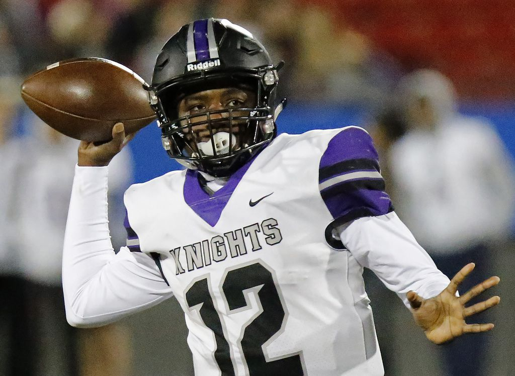 Independence High School quarterback Braylon Braxton (12) tosses the football during the first half as Centennial High School hosted Independence High School in a district 5-5A Division I football game at Toyota Stadium in Frisco on Friday night, November 9, 2018.  (Stewart F. House/Special Contributor)