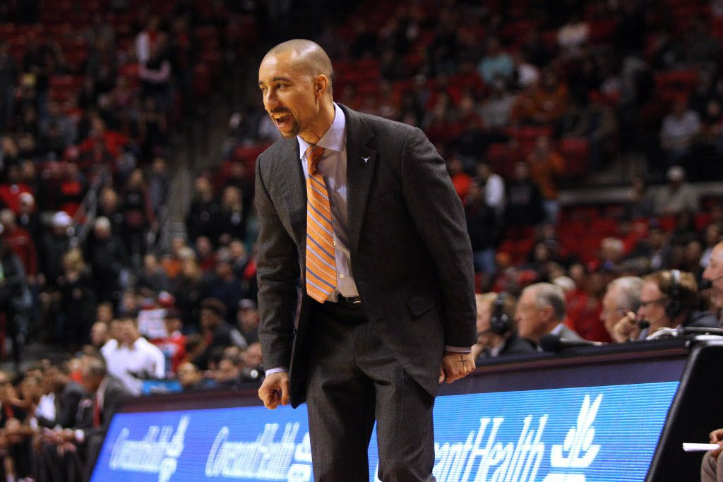 Jan 2, 2016; Lubbock, TX, USA; Texas Longhorns head coach Shaka Smart looks on from the sidelines during the game with the Texas Tech Red Raiders at United Supermarkets Arena.