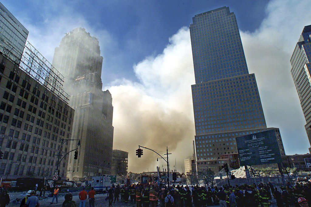 In this file photo taken on Sept. 12, 2001, smoke billows from the scene of the World Trade Center in New York after the 9/11 attacks.