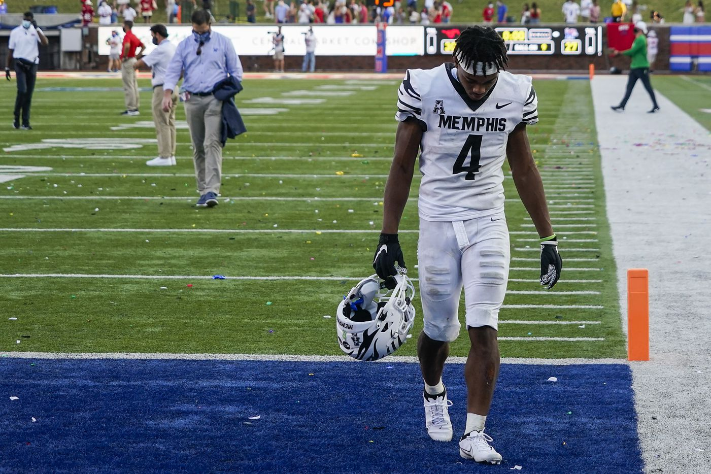 Memphis wide receiver Calvin Austin III walks off the field following a 30-27 loss to SMU in an NCAA football game at Ford Stadium on Saturday, Oct. 3, 2020, in Dallas.
