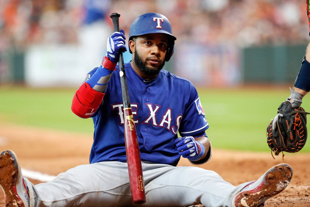 HOUSTON, TX - JULY 21:  Elvis Andrus #1 of the Texas Rangers reacts after a pitch thrown by Josh James #39 of the Houston Astros in the sixth inning at Minute Maid Park on July 21, 2019 in Houston, Texas.  (Photo by Tim Warner/Getty Images)
