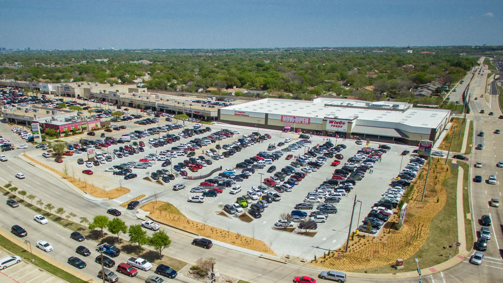 A new WinCo supermarket replaced a vacant space at this Carrollton shopping center.