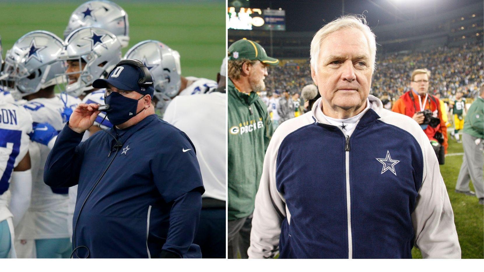 El actual entrenador en jefe de los Dllas Cowboys, Mike McCarthy (izq) ha hecho recordar la mala temporada que le costó el puesto a Wade Phillips (der) en la temporada 2010.