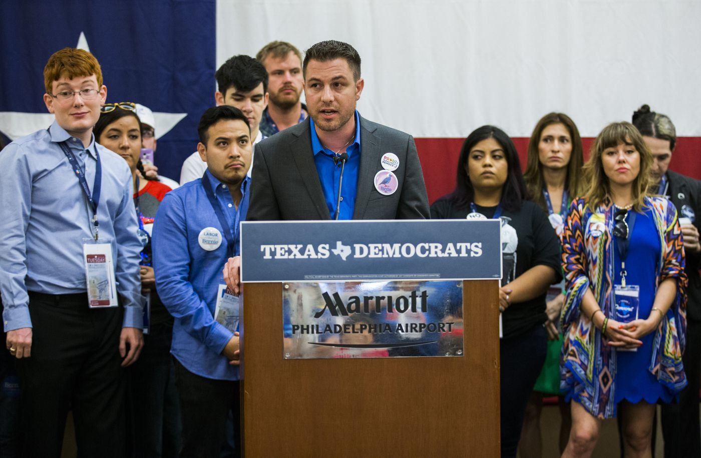 Russell Lytle, Bernie Sanders supporter from Denton county, speaks on behalf of Sanders supporters during the Texas delegation breakfast before day two of the Democratic National Convention on Tuesday, July 26, 2016 at the Philadelphia Airport Marriott in Philadelphia, Pennsylvania.