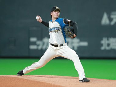 A look at recently signed Texas Rangers pitcher Kohei Arihara while pitching for the Hokkaido Nippon Ham Fighters.