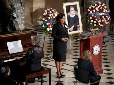 Denyce Graves sings during a ceremony to honor the late Justice Ruth Bader Ginsburg as she lies in state at Statuary Hall in the U.S. Capitol in Washington, D.C., on Sept. 25, 2020.
