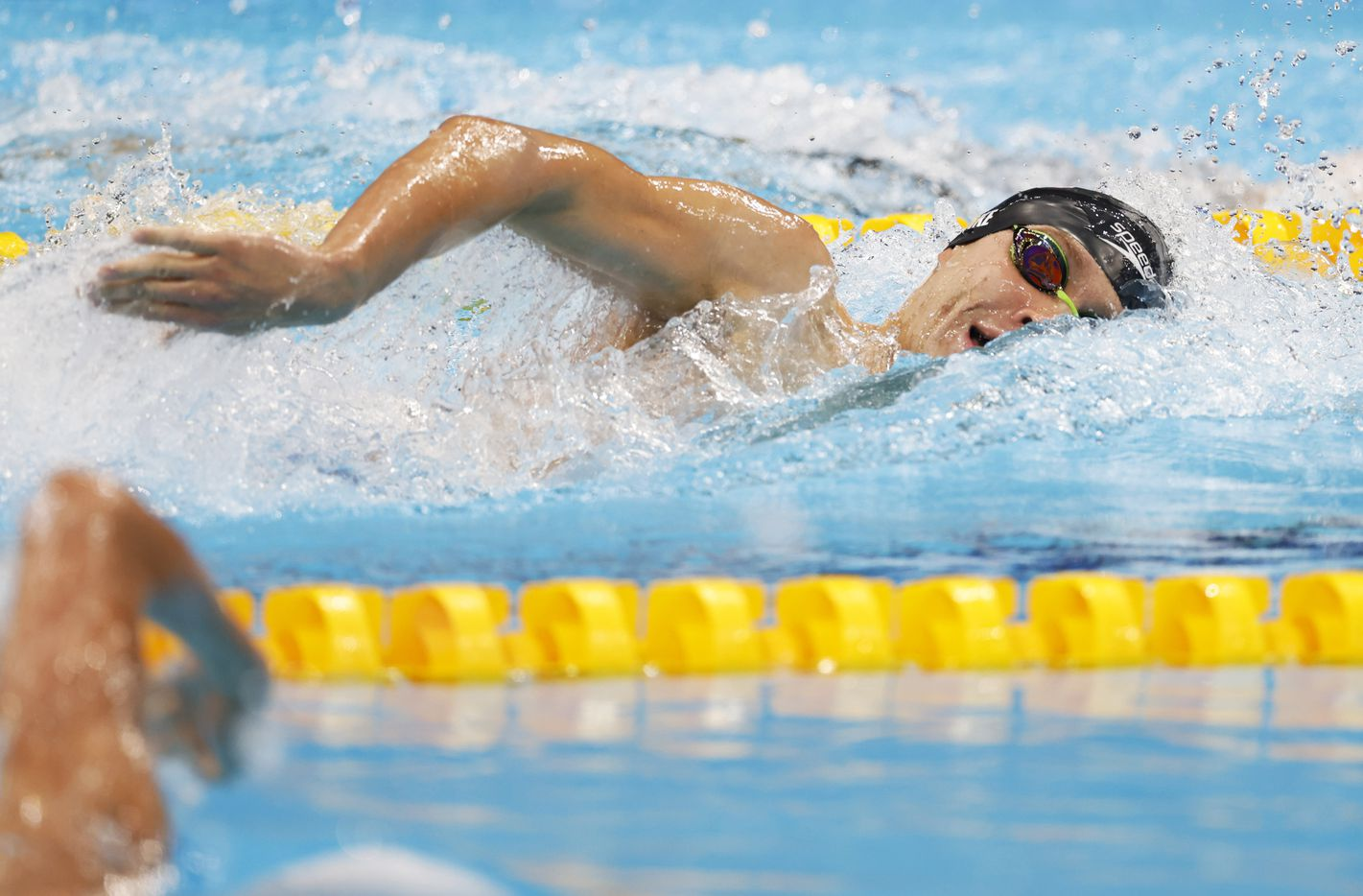 USA's Robert Finke competes in the men's 1500 meter freestyle final during the postponed 2020 Tokyo Olympics at Tokyo Aquatics Centre, on Sunday, August 1, 2021, in Tokyo, Japan. Finke won with a time of 14:39.65 to earn a gold medal. (Vernon Bryant/The Dallas Morning News)