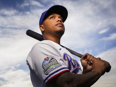 Texas Rangers outfielder Willie Calhoun pictured during photo day at the team's spring training facility on Wednesday, Feb. 19, 2020, in Surprise, Ariz.