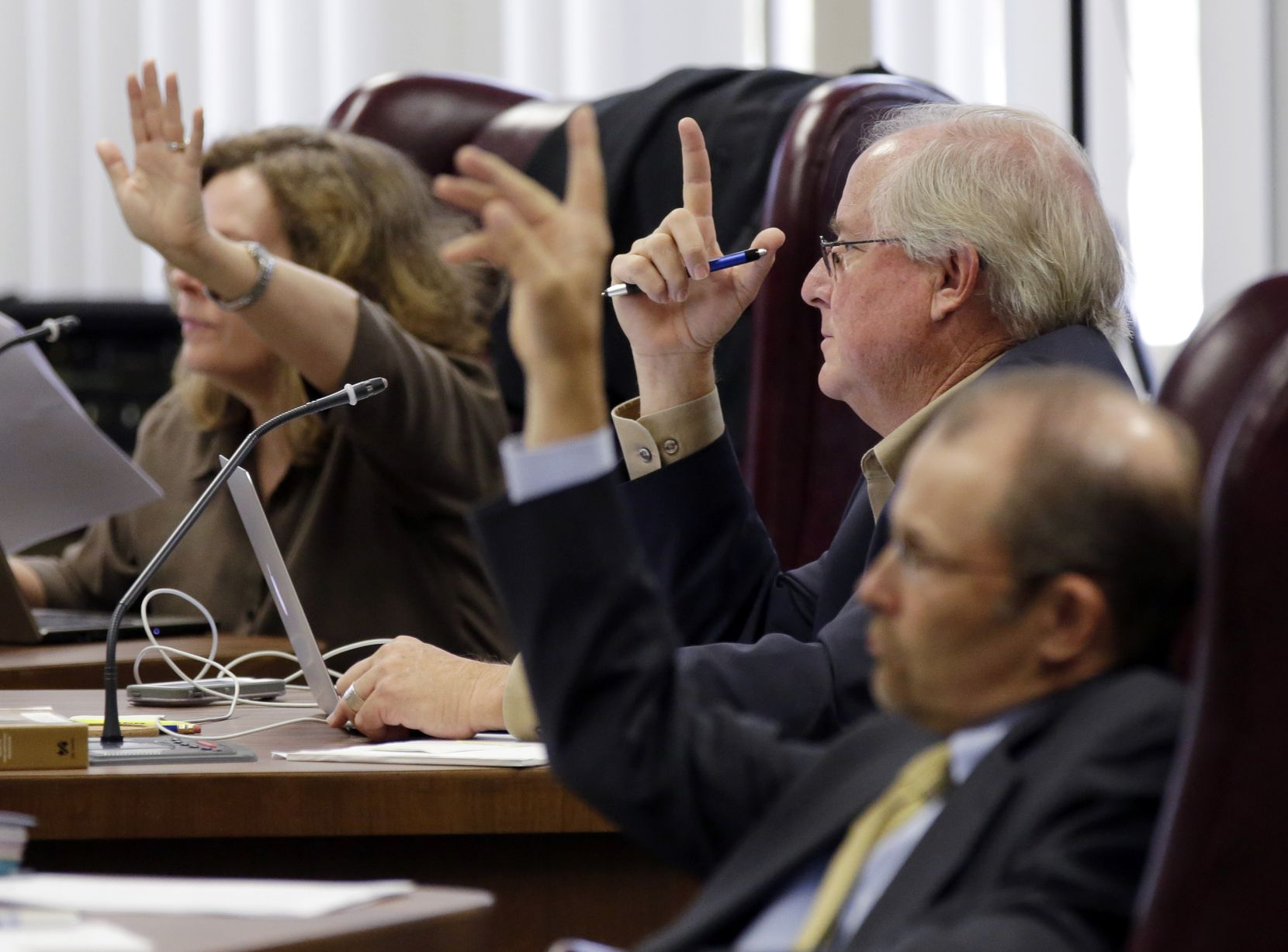 Texas Board of Education members (from left) Donna Bahorich, David Bradley and  Thomas Ratliff had questions during a public hearing in September for new textbooks up for adoption and use in classrooms statewide.