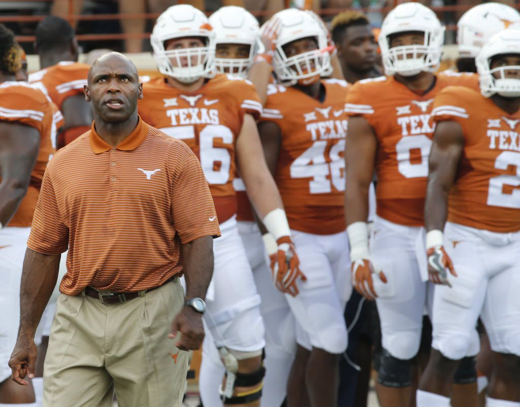 Texas head coach Charlie Strong is pictured during warmups before the Notre Dame Fighting Irish vs. the University of Texas Longhorns NCAA football game at Darrell K. Royal Memorial Stadium in Austin on Sunday, September 4, 2016. (Louis DeLuca/The Dallas Morning News)
