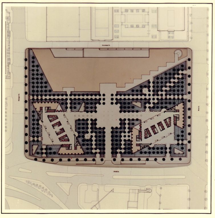 Original site plan for Fountain Place, with a matching tower on the left and a Hyatt Hotel planned at the top of the diagram.