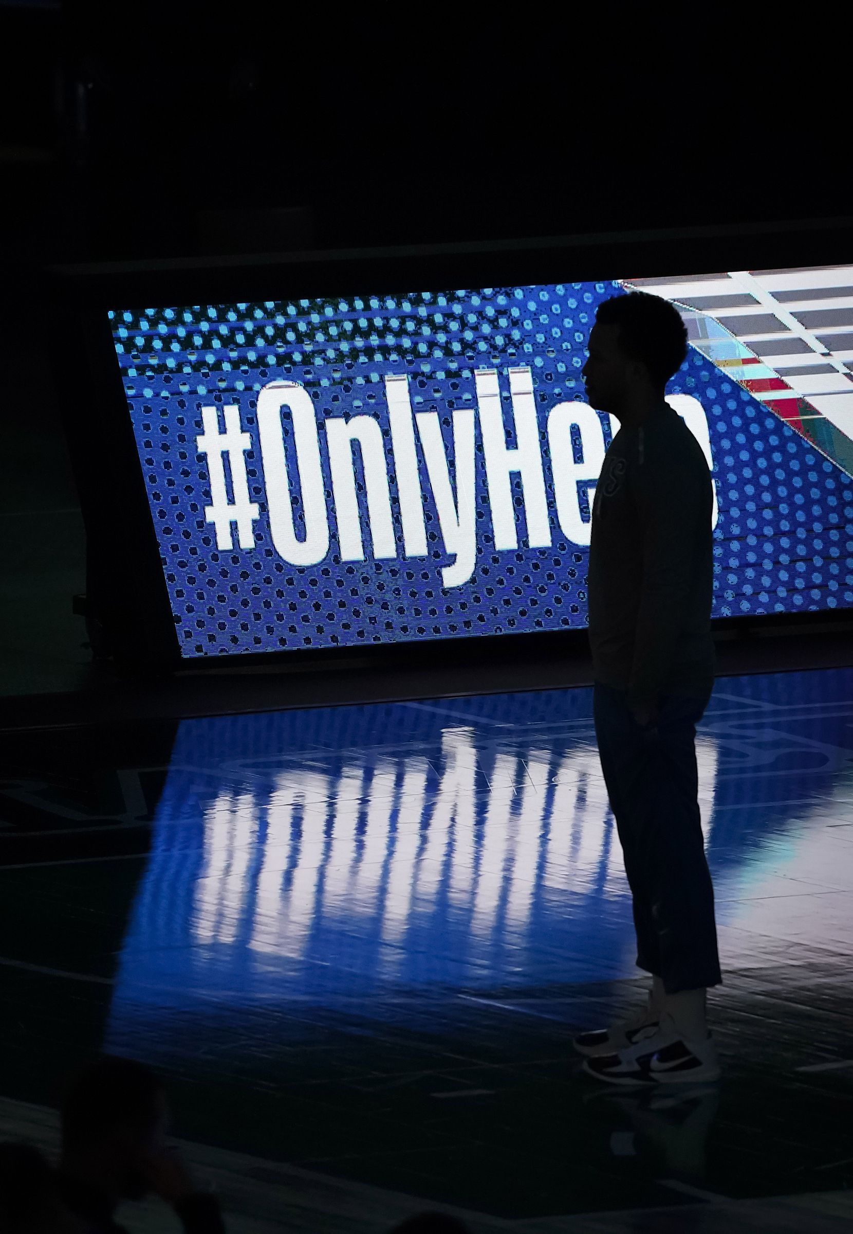 Dallas Mavericks guard Jalen Brunson stands for the pregame introductions before an NBA basketball game against the LA Clippers at American Airlines Center on Wednesday, March 17, 2021, in Dallas.