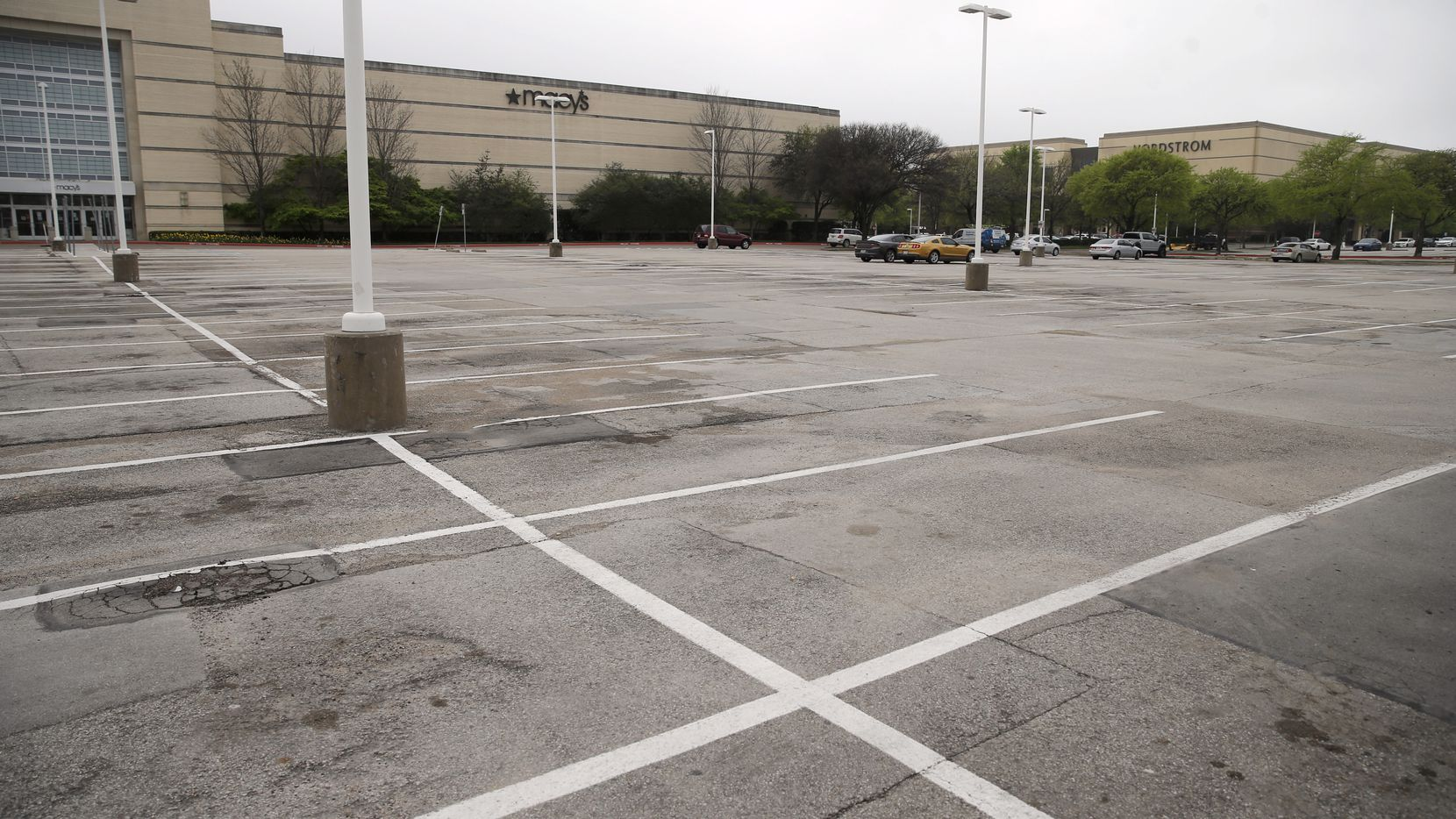 One of the parking lots in front of Macy's at NorthPark Center in Dallas was almost empty on March 17.