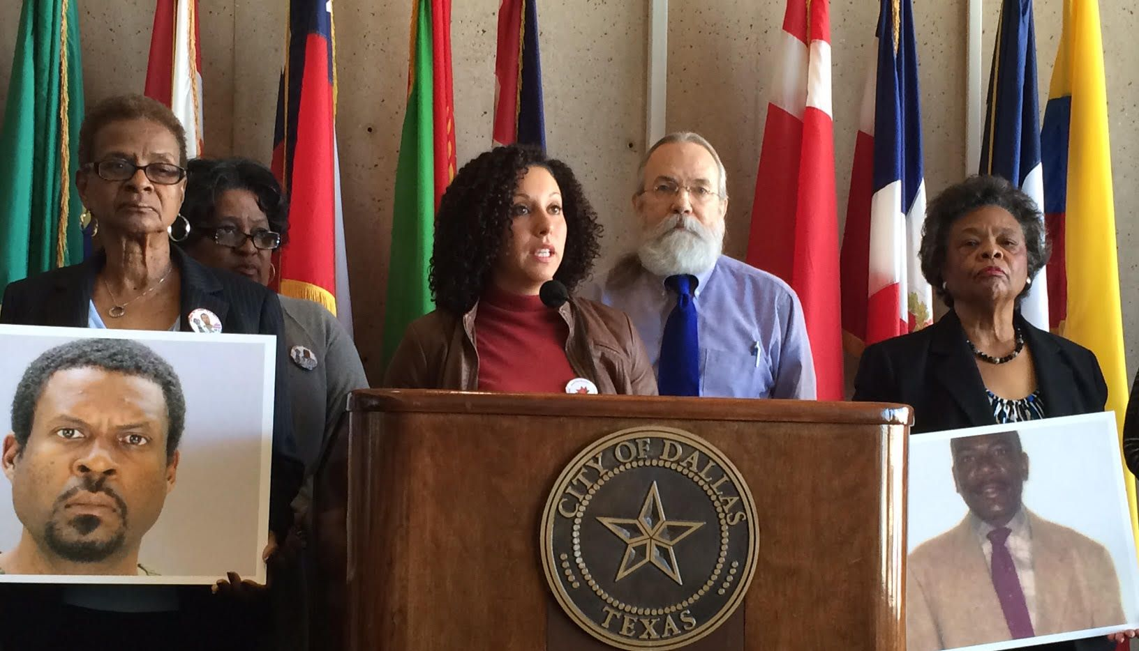 Rochelle Bilal  of the National Black Police Association and Ron Pinkston (center right) of the Dallas Police Association spoke out against Chief David Brown.