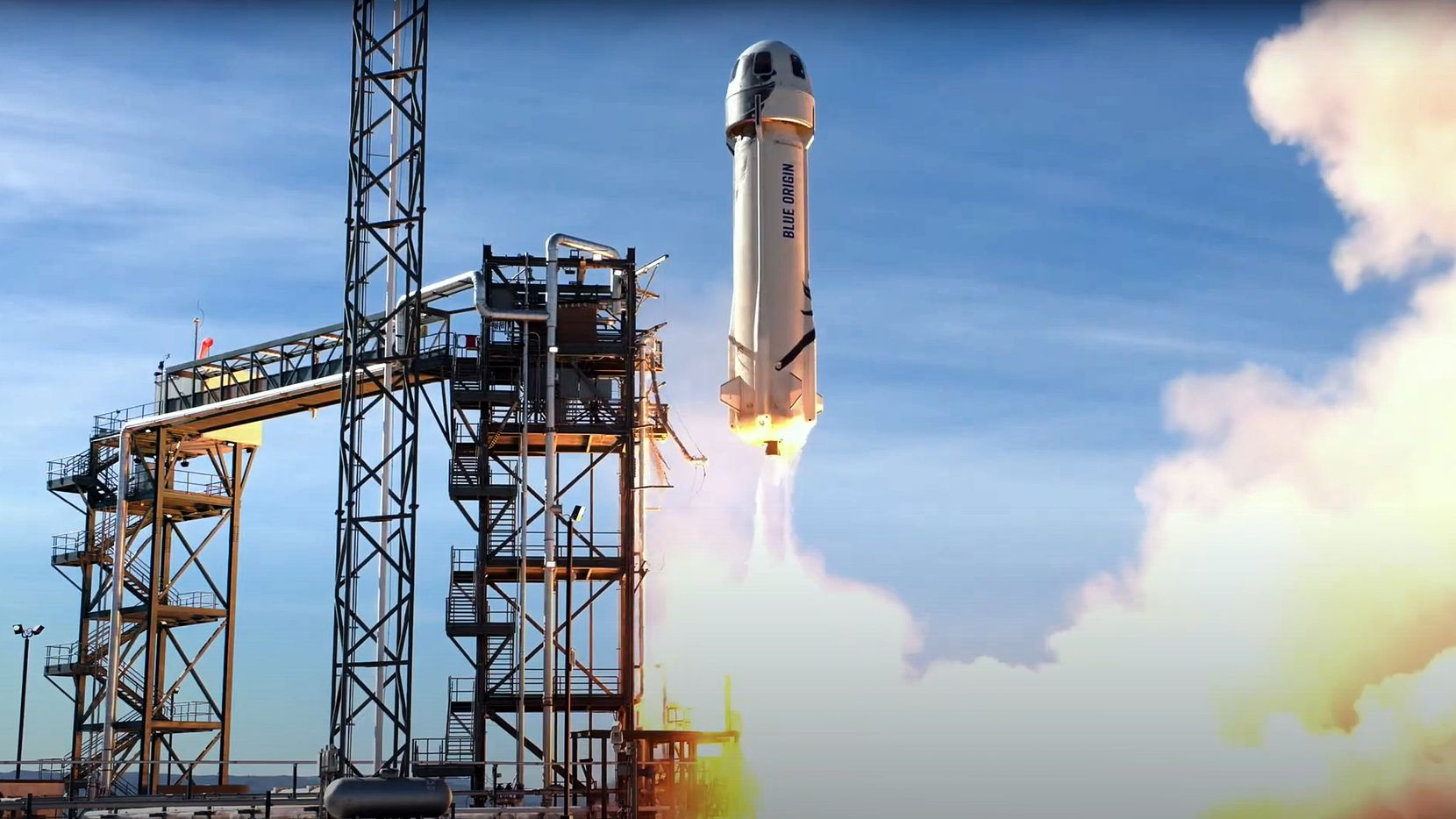 A video frame shows Blue Origin successfully launching its14thmission to space and back on Jan. 14 at the company's launch site in Van Horn.