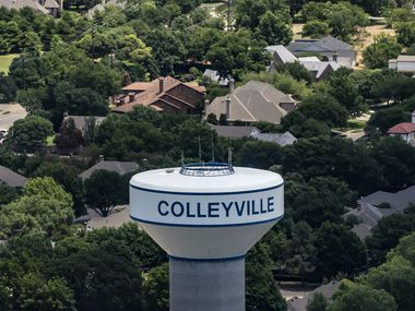 A Colleyville water tower in Colleyville, Texas, on Thursday, June 18, 2020.