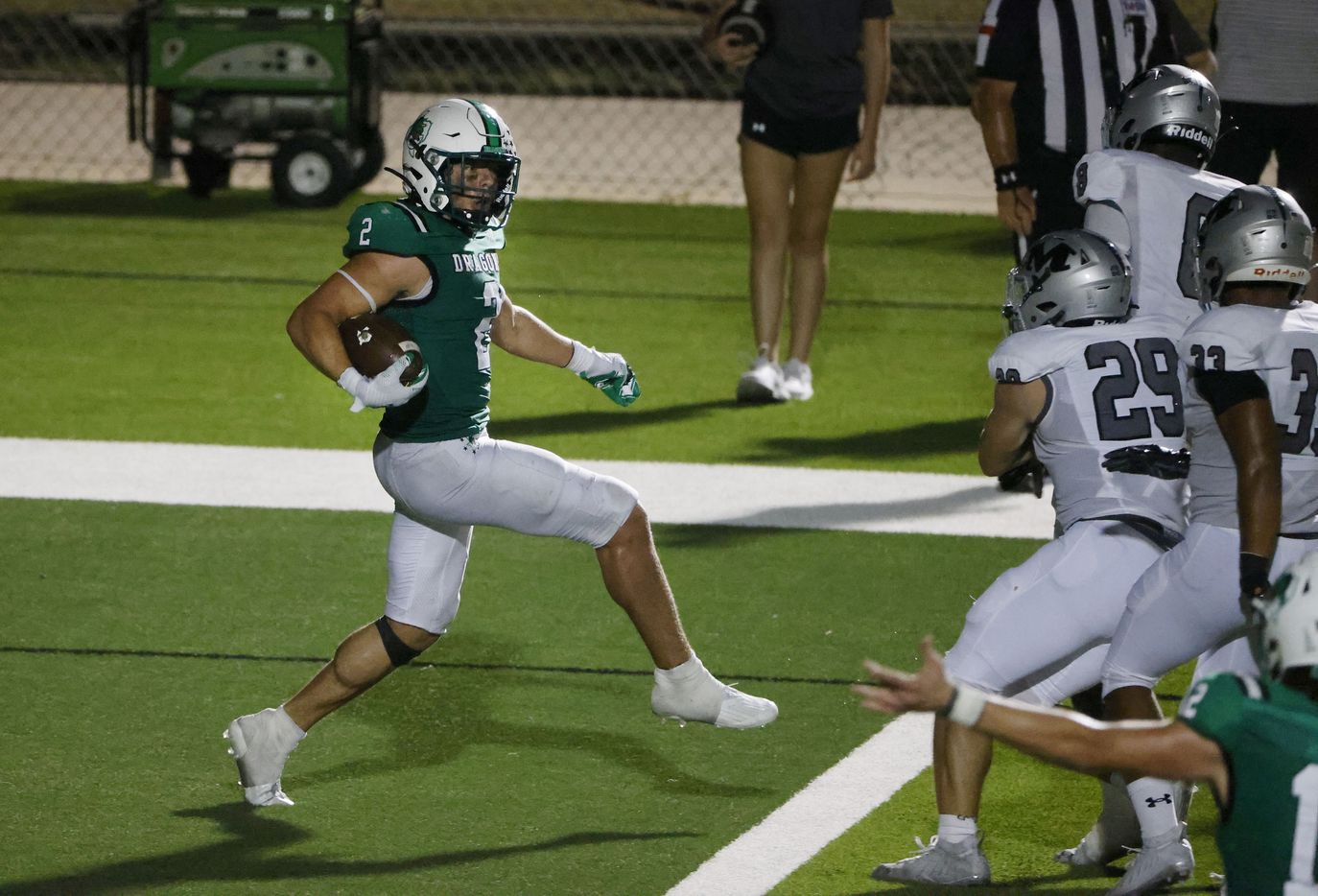 Southlake Carroll running back Owen Allen  (2) backs into the end zone for his second rushing touchdown against Arlington Martin during a high school football game in Southlake, Texas on Friday, Sept. 17, 2021. (Michael Ainsworth/Special Contributor)