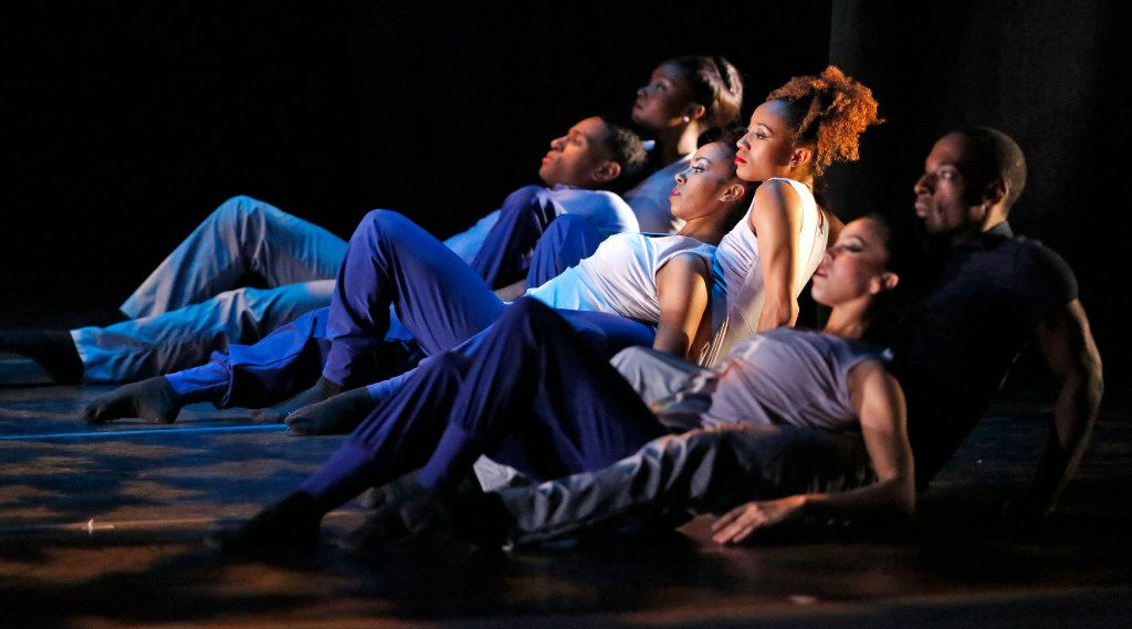 Dancers performed touch (listen), during which they remained in almost constant contact. (Nathan Hunsinger/Staff Photographer)